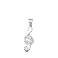 Silver Lab Opal Pendant - Musical Note