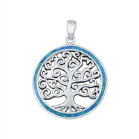 Silver Lab Opal Pendant - Tree of Life