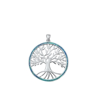 Silver Lab Opal Pendant - Tree w/ Roots