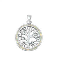 Silver Lab Opal Pendant - Tree Roots