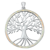 Silver Lab Opal Pendant - Tree of Life w/ Roots