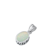Silver Lab Opal Pendant - Oval