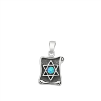 Silver Lab Opal Pendant - Jewish Star on Scroll