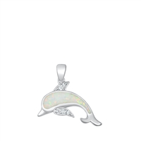 Silver Lab Opal Pendant - Dolphin