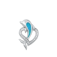 Silver Lab Opal Pendant - Dolphin Heart