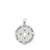 Silver Lab Opal Pendant - Compass