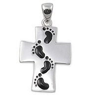 Silver Cross Pendant - Footprints