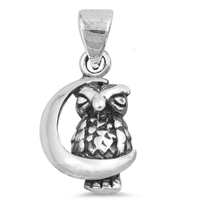 Silver Pendant - Owl on the Moon