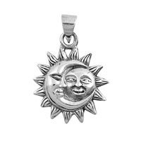 Silver Pendant - Moon and Sun