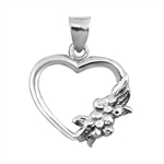Silver Pendant W/ Stone - Heart with Flowers
