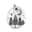 Silver Pendant - Trees and Moon