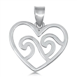 Silver Pendant - Waves in Heart