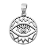 Silver Heart Pendant - All Seeing Eye