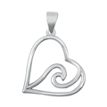 Silver Pendant - Heart & Wave