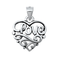 Silver Pendant - Heart & Love