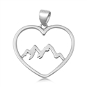 Silver Pendant - Heart & Mountains