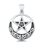 Silver Pendant - Celtic Moon and Star