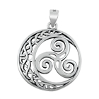 Silver Pendant - Moon and Triskelion