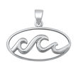 Silver Pendant - Waves - $3.74
