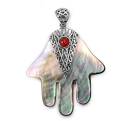Silver Pendant W/ Stone - Hand Of God