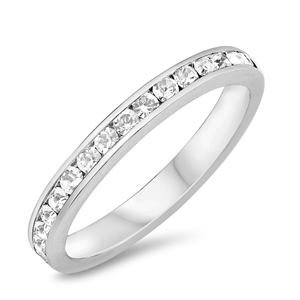 Silver Eternity Ring 3mm - Clear