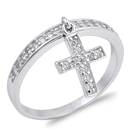 Silver CZ Ring - Dabgling Cross  -  $4.39