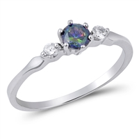 Silver Ring with Rainbow Topaz CZ - $3.16