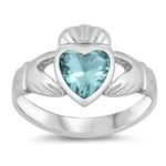 Silver CZ Ring - Claddagh  -  $4.98