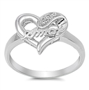 Silver CZ Ring - Heart W/ Amor  -  $4.89