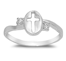Silver CZ Ring - Cross  -  $3.75