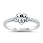 Silver CZ Ring - Heart -  $3.49