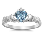 Silver Claddagh Ring - Aquamarine CZ - $3.49