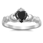 Silver Claddagh Ring - Black CZ - $3.49