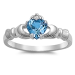 Silver Claddagh Ring - Blue Topaz CZ - $3.59