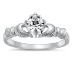 Silver Claddagh Ring - Clear CZ - $3.49