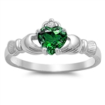 Silver Claddagh Ring - Emerald CZ - $3.49