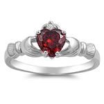 Silver Claddagh Ring - Garnet CZ - 3.49