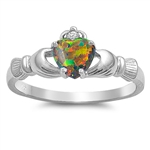 Silver Claddagh Ring - Lab Opal - $3.99