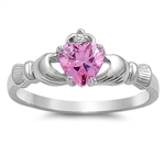 Silver Claddagh Ring - Pink CZ - 3.49