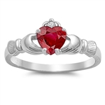 Silver Claddagh Ring - Ruby CZ - $3.59