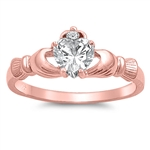 Silver Claddagh Ring - Rose Gold Plated - $4.39