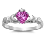 Silver Claddagh Ring - Rose Pink CZ - $3.49