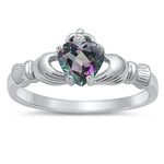 Silver Claddagh Ring - Rainbow Topaz CZ - $3.59