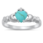 Silver Claddagh Ring - Turquoise - $5.06