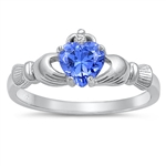 Silver Claddagh Ring - Tanzanite - $3.79