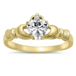Silver Claddagh Ring - Yellow Gold Plated - $4.39
