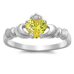 Silver Claddagh Ring - Yellow Topaz CZ - $3.49