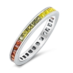 Silver Eternity Ring - Channel Set Princess CZ  - $7.25