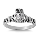 Silver CZ Ring - Claddagh - $6.69