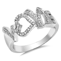 Silver CZ Ring - Love - $8.78